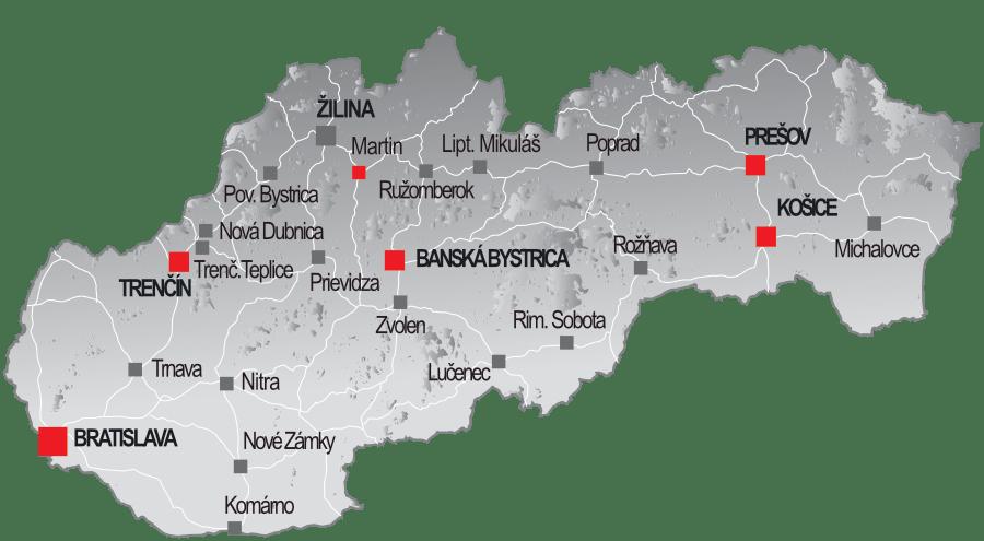 Mapa reklamných plôch na Slovensku